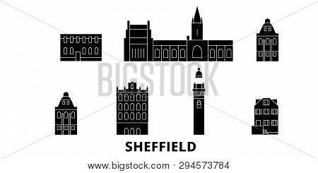 United Kingdom, Sheffield Flat Travel Skyline Set. United Kingdom, Sheffield Black City Vector Illus