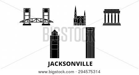 United States, Jacksonville Flat Travel Skyline Set. United States, Jacksonville Black City Vector I
