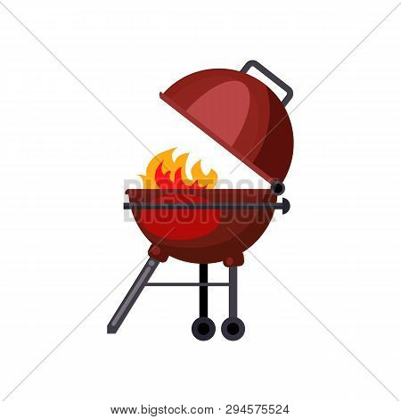Grill Station Illustration. Picnic, Barbeque, Outside. Grill Party Concept. Vector Illustration Can