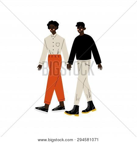 Happy African American Gay Couple, Two Men Holding Hands, Romantic Homosexual Relationship Vector Il