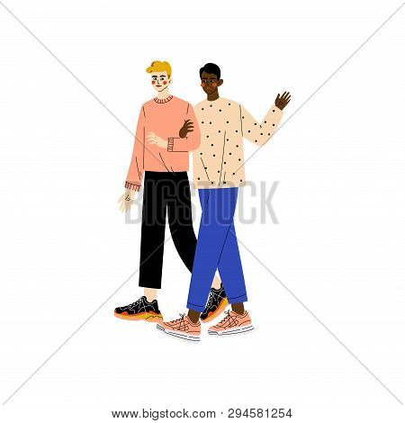 Happy Gay Interracial Men Couple, Romantic Homosexual Relationship Vector Illustration