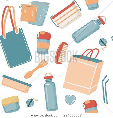 Zero Waste essentials seamless pattern with canvas bag water bottle travel mug toiletries containers razor straws canvas and paper bags, vector illustration on white background poster