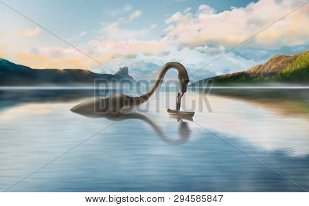 Illustration Of The Amazing Friendship Of The Loch Ness Monster And Man On The Background Of The Bea