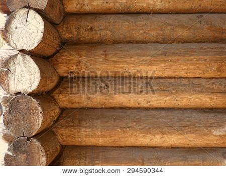 Blockhouse Background. Big Old Timber Wall. Retro Wooden Surface. Horizontal Structure. Summer Day.