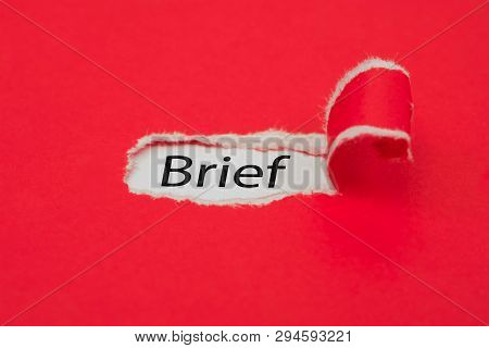 Torn red paper revealing the word Brief. Business concept. poster