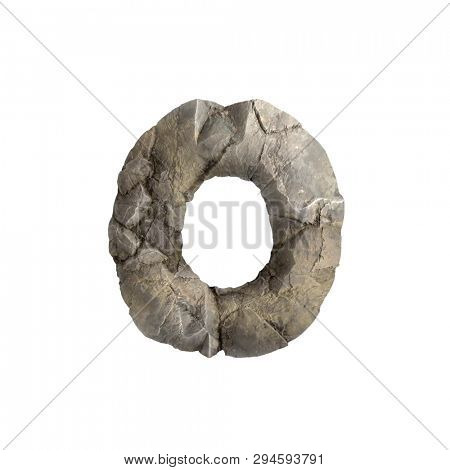 Rock letter O - Lowercase 3d boulder font isolated on white background. This alphabet is perfect for creative illustrations related but not limited to nature, ecology, environment...