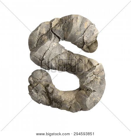 Rock letter S - Capital 3d boulder font isolated on white background. This alphabet is perfect for creative illustrations related but not limited to nature, ecology, environment...