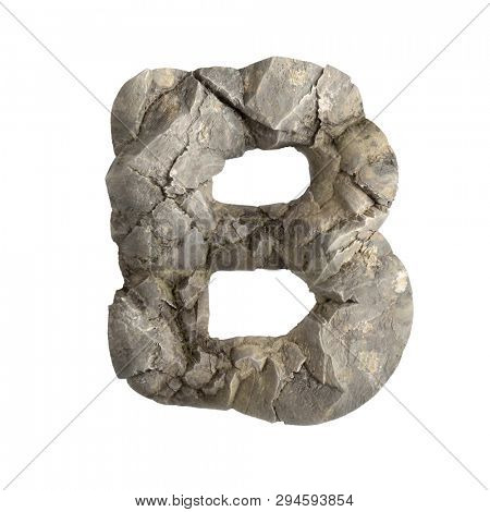 Rock letter B - large 3d boulder font isolated on white background. This alphabet is perfect for creative illustrations related but not limited to nature, ecology, environment...
