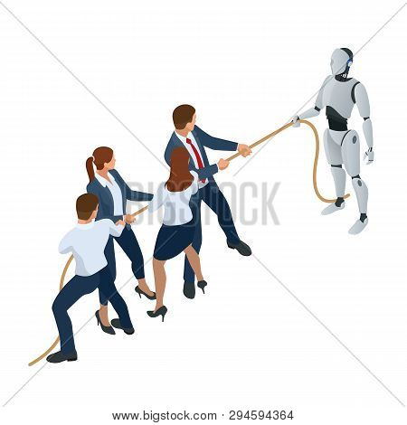 Isometric Business People And Robot Fighting With Artificial Intelligence In Suit Pull The Rope, Com