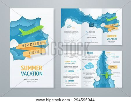 Travel Tri-fold Brochure With 3d Scene With Paper Cut Objects (airplane, Clouds, Ribbon) On Blue Bac