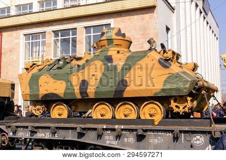 Perm, Russia - April 10, 1019: Wrecked Amphibious Armored Combat Vehicle Of Isis Militants Seized As