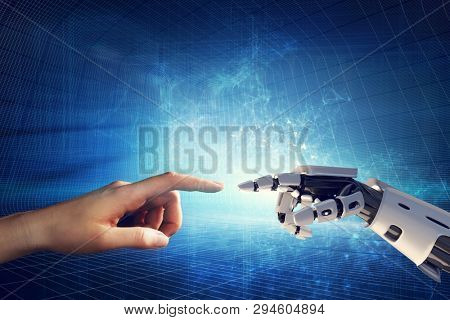 Human and robotic hand touching fingers. Artificial intelligence, modern smart technology. 3D illustration