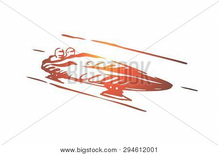 Luge, Winter, Sport, Ice, Speed Concept. Hand Drawn Competition Of Luge Sport Concept Sketch. Isolat