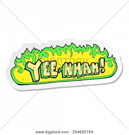 sticker of a yee hah cartoon