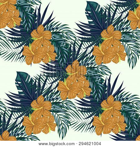 Blue Tropical Leaves And Red Flowers On A White Background. Tropical Seamless Pattern With Hibiscus