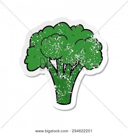 distressed sticker of a cartoon brocoli