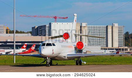 Kloten, Switzerland - September 29, 2016: A Dassault Falcon 7x Airplane At Zurich Airport. The Dassa