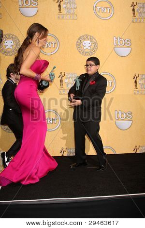 LOS ANGELES - JAN 29:  Sofia Vergara, Rico Rodriguez in the Press Room at the 18th Annual Screen Actors Guild Awards at Shrine Auditorium on January 29, 2012 in Los Angeles, CA