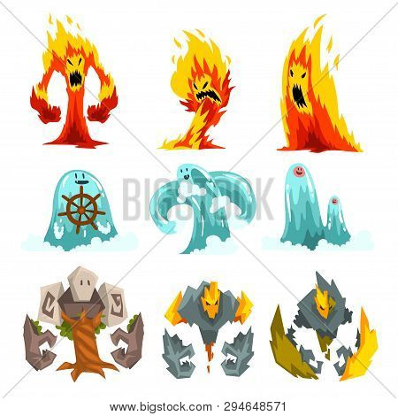Fire, Stone And Water Monsters Set, Fantasy Mystic Creatures Cartoon Characters Vector Illustration