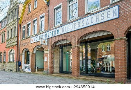 Nienburg, Germany April 10, 2019: An Image Of The Front Of The Police Museum Polizeimuseum Niedersac
