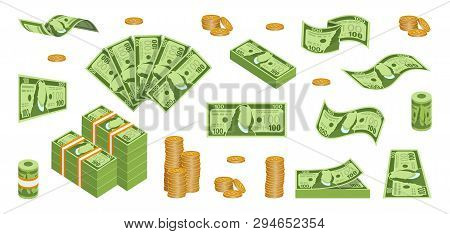 Set Of Cash Paper Money. Various Kind Of Money. Money Packing In Bundles. Flying Bank Notes. Gold Co