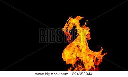 Dragon-shaped Fire. Fire In The Form Of A Dragon. Fire Flames On Black Background. Fire On Black Bac