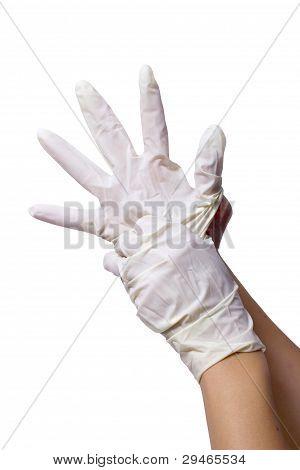White Nitril Gloves On Hands