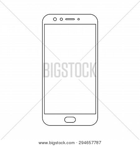 poster of Smartphone mobile phone black lins outline with camera, buttons and big meun button vector eps10. Smartphone  outline.