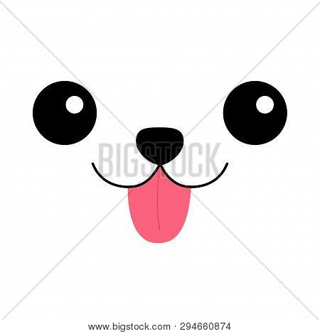poster of Dog happy square face head icon. Pink tongue out. Contour line silhouette. Funny baby pooch. Cute cartoon puppy character. Kawaii animal. Love Greeting card. Flat design. Kids background. Vector