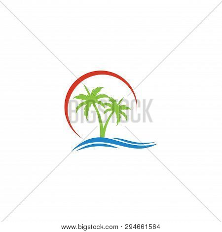 Tropical Beach Palms Vector Icon On White Background. Tropical Beach Palms Icon In Modern Design Sty