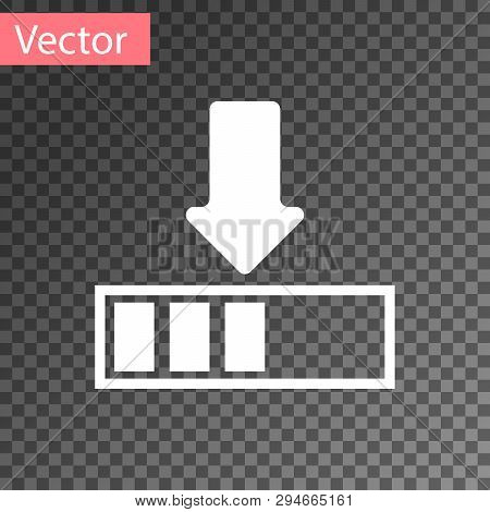White Loading Icon Isolated On Transparent Background. Download In Progress. Progress Bar Icon. Vect