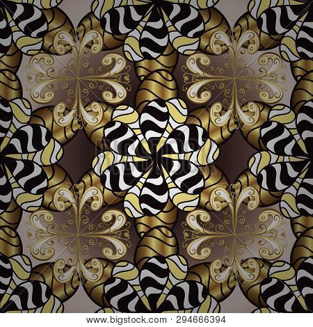 Gold Metal With Floral Pattern. Brown And Black Colors With Golden Elements. Vector Golden Floral Or