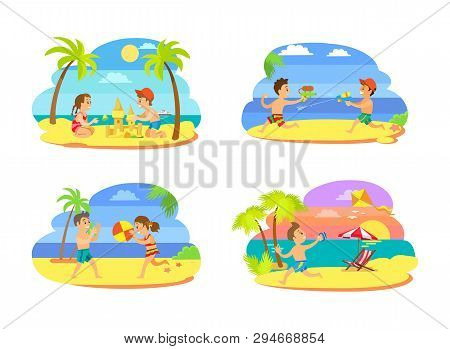 Summer Activity Set Of Teenagers On Beach, Playing Volleyball, Running With Kite And Squirts, Making