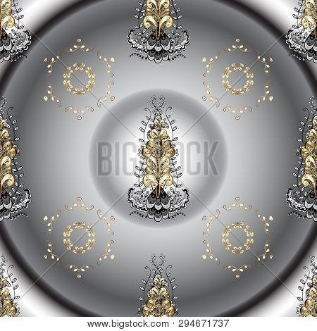 Floral Ornament Brocade Textile Pattern, Glass, Metal With Floral Pattern On Gray And Neutral Colors