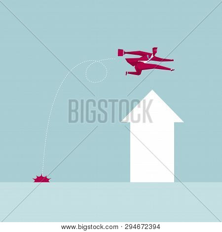 Business Hurdler,businessman Crossing The Arrow Symbol,isolated On Blue Background.