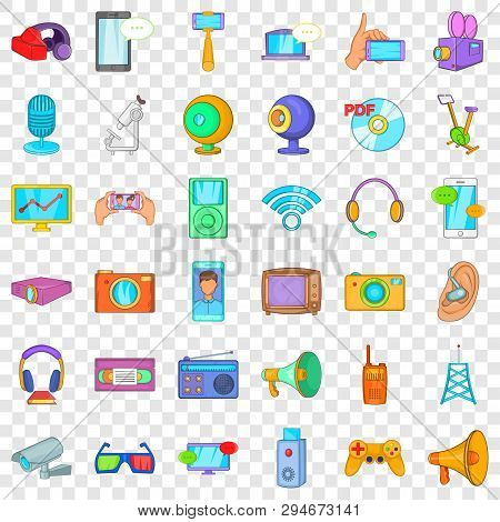 Electronic Gadget Icons Set. Cartoon Style Of 36 Electronic Gadget Vector Icons For Web For Any Desi