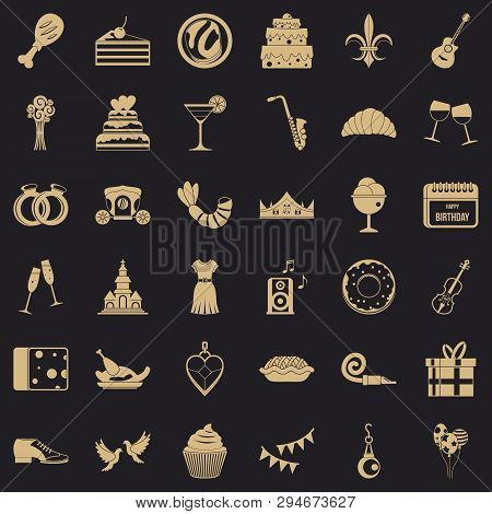 Love Banquet Icons Set. Simple Style Of 36 Love Banquet Vector Icons For Web For Any Design