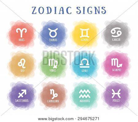 Zodiac Signs. Smoky Circle. Line Symbol. Aquarius, Libra, Leo,  Cancer, Pisces, Virgo, Capricorn, Sa