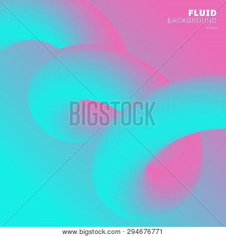 poster of Abstract modern Background trendy vibrant gradient color. Flow Shape pink and blue color 3D with spiral liquid or twisted fluid. You can use for brochure, flyer, poster, banner web, cover design. Vector illustration