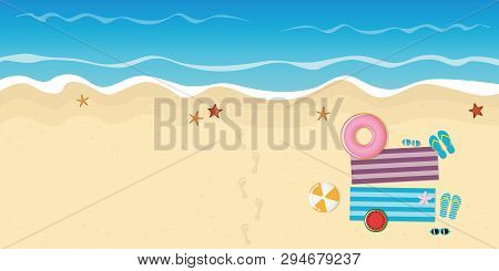 Footprints On The Beach With Starfish Flipflops Sunglasses Watermelon And Ball Vector Illustration E