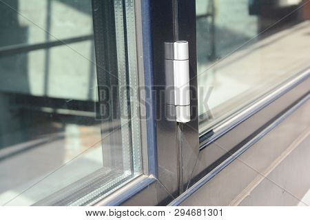 Close Up On Conservatory Glass Door Door Hinge