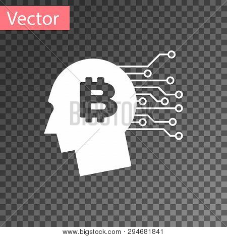 White Bitcoin Think Icon Isolated On Transparent Background. Cryptocurrency Head. Blockchain Technol