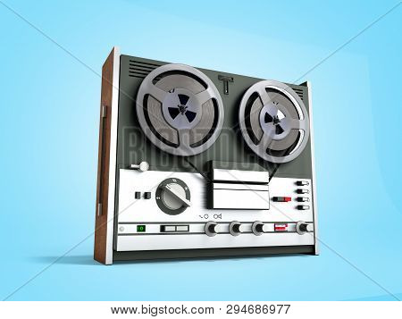 Old Portable Reel To Reel Tube Tape Recorder 3d Render On Blue