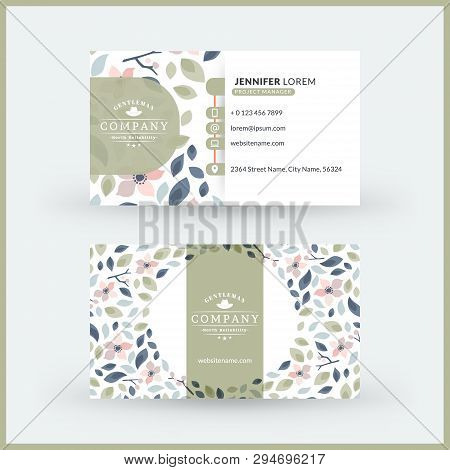 Double-sided Horizontal Modern Business Card Template With Cute Floral Background. Vector Mockup Ill