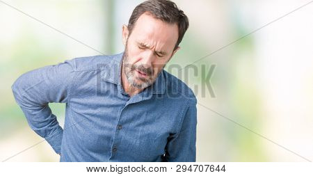 Handsome middle age elegant senior man over isolated background Suffering of backache, touching back with hand, muscular pain