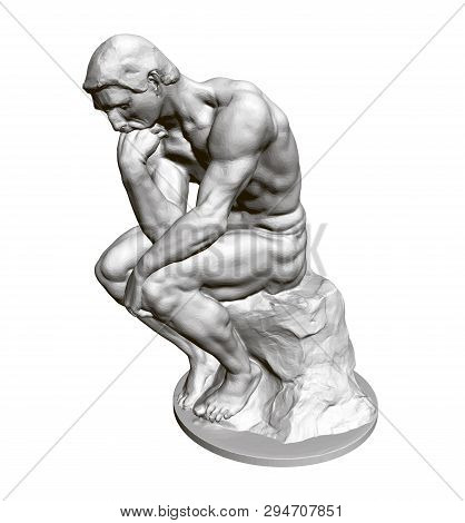 Sculpture Thinker. 3d. Statue Of A Seated Man Leaning His Hand To His Face. Vector Illustration