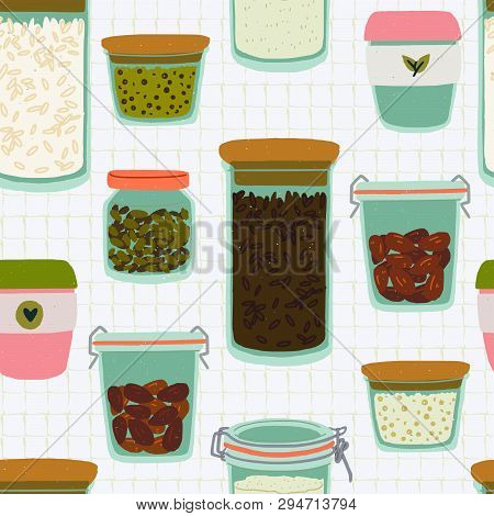 Seamless Pattern With Cartoon Glass Jars And Tumblers On Quad Ruled Background. Flat Style Kitchen U