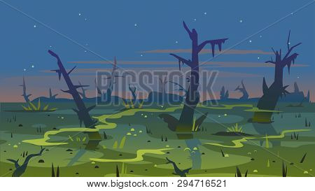 Dark Swamp Landscape With Dead Trees In Fog Around Plants, Terrible Mystical Place, Swamp With Bulru