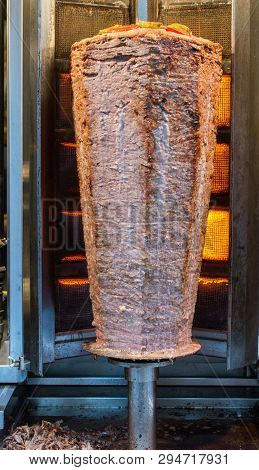 Traditional Turkish Doner Kebab On Pole In The View