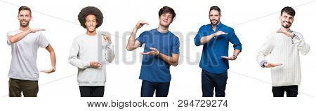 Collage of group of people over white isolated background gesturing with hands showing big and large size sign, measure symbol. Smiling looking at the camera. Measuring concept.